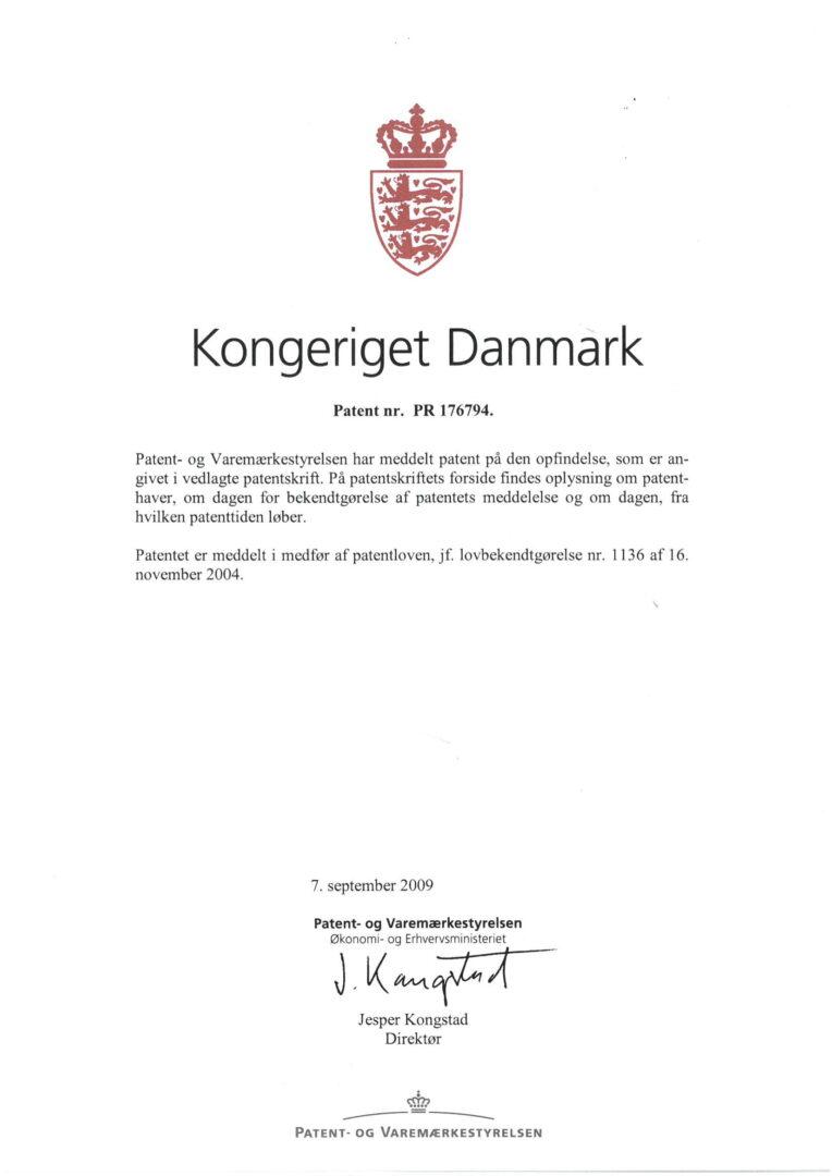 Patent nr. PR 176794, Denmark-1