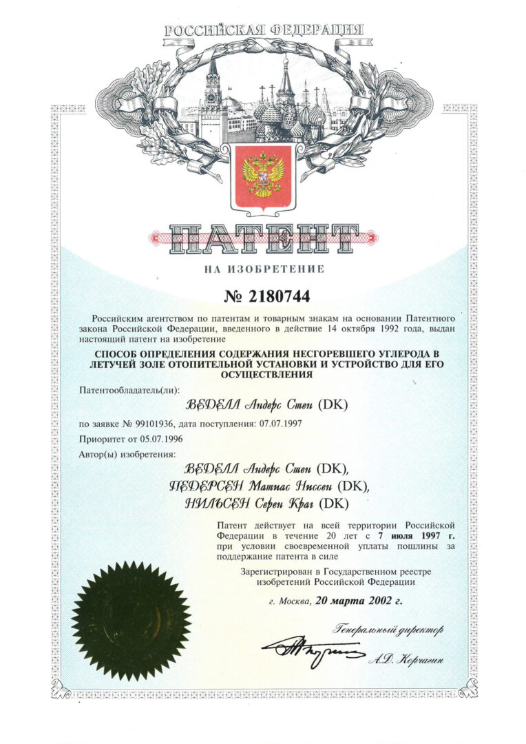 Patent nr. 2180744, Russia-1