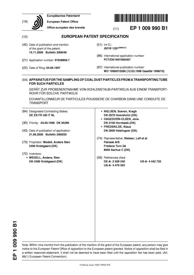 Patent nr. EP 1009990B1, EU-01