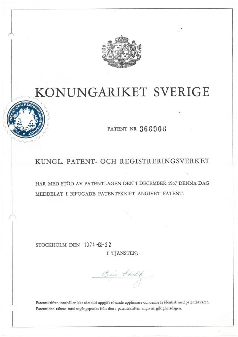 Patent nr. 366906, Sweden-1