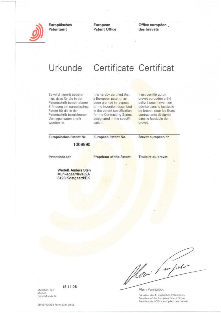 Patent nr. DE 69736953 D1 (EP1009990B1), German-1