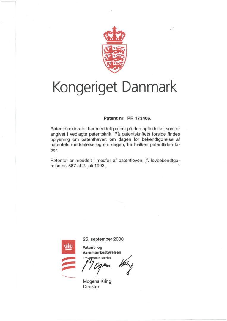 Patent nr. PR 173406, Denmark-1