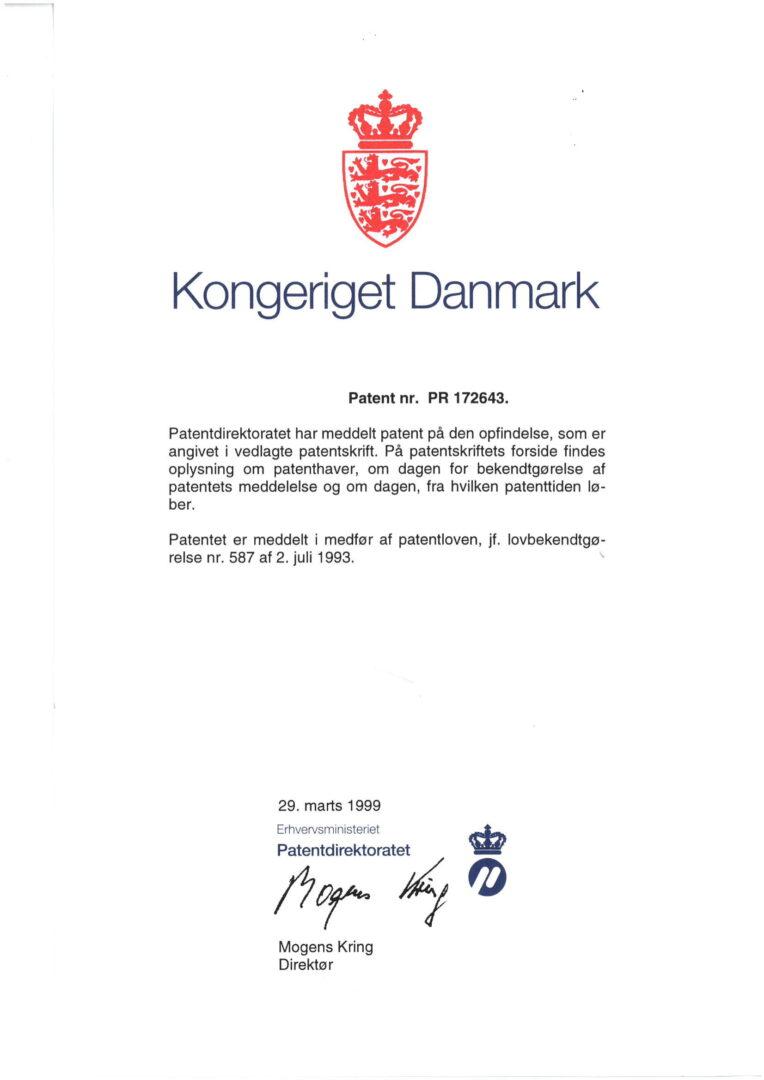 Patent nr. PR 172643 (EP1009990B), Denmark (EU)-1