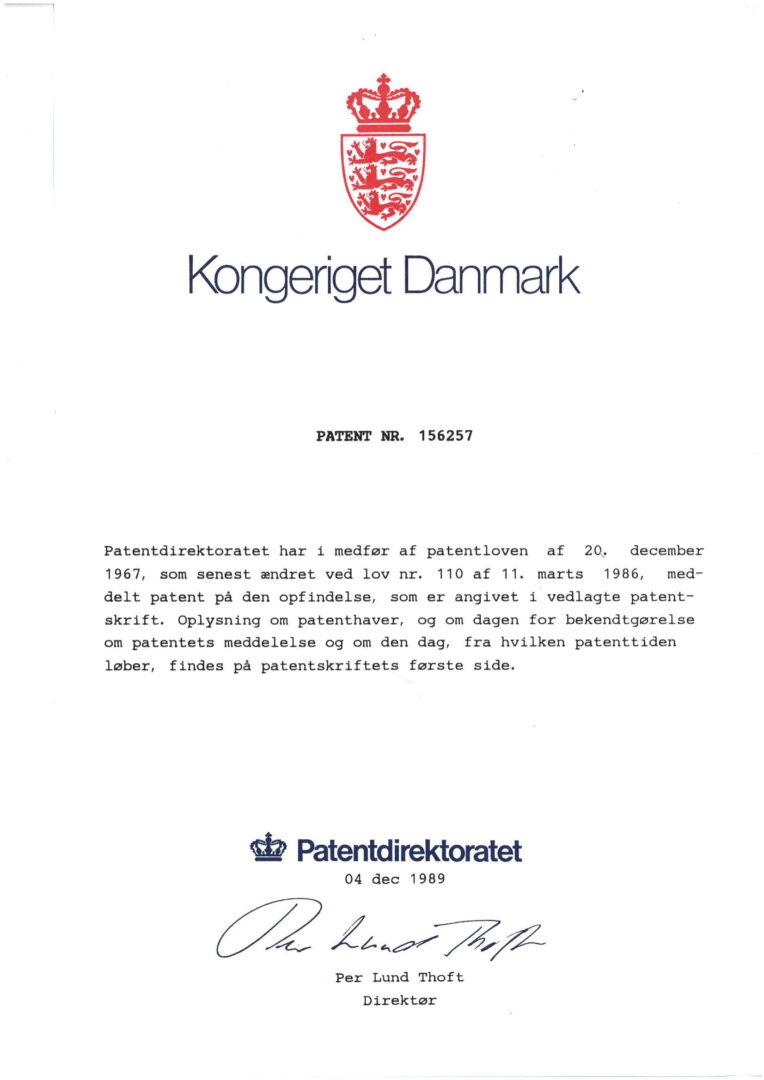Patent nr. 156257, Denmark-1
