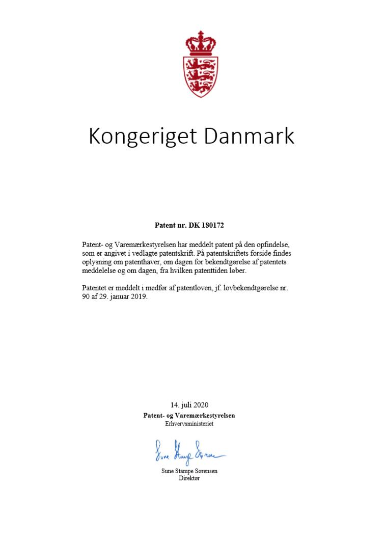 PFS-tandhjulshus Patent nr. DK 180172
